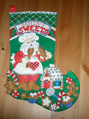 Bucilla Completed Christmas Stocking Santa's Sweets
