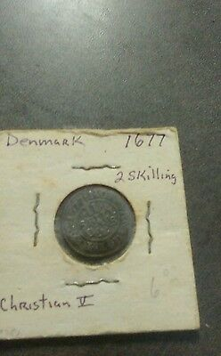 Denmark 1677 2 skilling coin 340 years old great shape