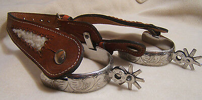 Hand Engraved Spurs w/ Leather Hand Crafted Mazatlan Mexico Cowboy Horse