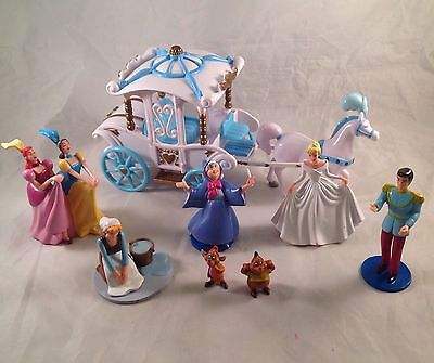 Lot Of Cinderella PVC Figures Horse & Carriage Mice Fairy Godmother Prince