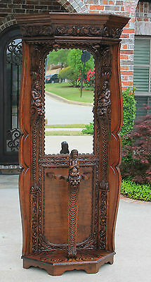 Antique French RenaissanceRevival Portemanteau Mirrored Hall Tree Umbrella Stand