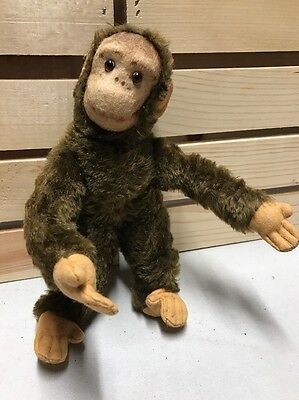 REMARKABLE Vintage Steiff Style Monkey Chimpanzee with Rotating Head RARE