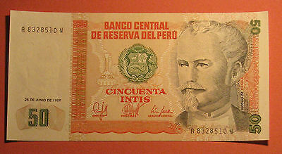 PERU Banknote 50 Intis 1987 UNC Note Paper Money Currency Bill