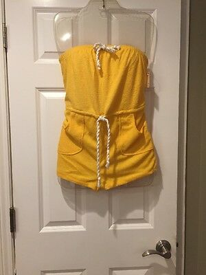 vintage 80's romper Yellow terry cloth  playsuit shorts L NOS WITH TAGS