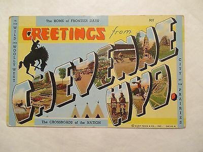 Big Letter Greetings from Cheyenne Wyoming WY Postcard