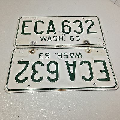 Washington 1963 License Plates Pair Nice Eca 632 L@@k