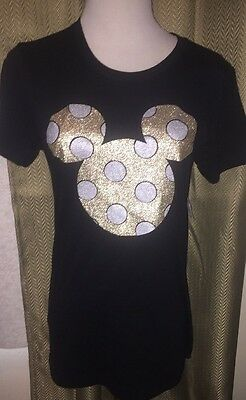 Disney Parks Shirt M NWT Black Mickey Gold Glitter Mouse
