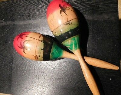 Vintage 1970's Hand Painted Turned Handle Wooden Maracas Made in Mexico