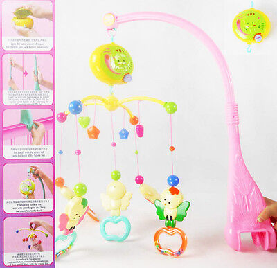 BABY Toddlers COT BED Stroller MUSICAL LULLABY MOBILE NURSERY Bell + ANIMAL TOYS