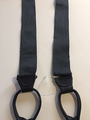 New Grey And Navy Suspenders / Braces W/ Black Button Tabs