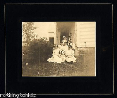 Great Pyrenees Dog and Family on Circa 1890 Cabinet Photo