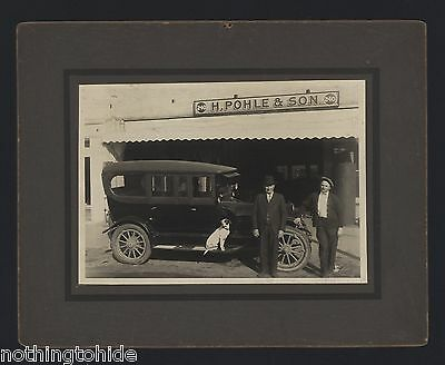 Pointer Mix Dog Sits on Running Board of Car - Circa 192? Cabinet Photo