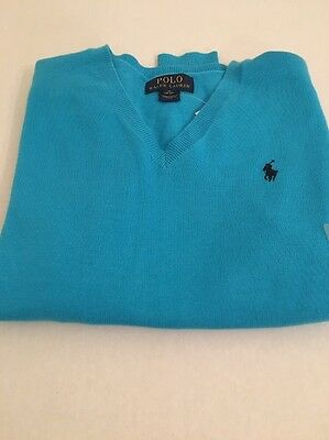 NWT New Polo Ralph Lauren Boys Turquoise Cotton Sweater Med. 10 12 Holiday Gift