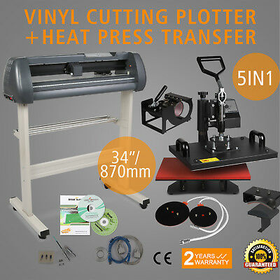 "5in1 Heat Press Transfer Kit 34"" Vinyl Cutting Plotter Printer T-Shirt DIY"
