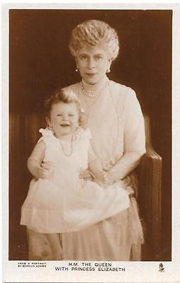 RPPC H.M. the Queen with Princess Elizabeth / Tuck's 3975E - Royalty Postcard