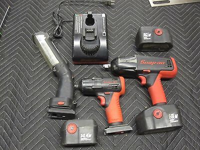 Snap On 18v Cordless Impact CT4850 14V CT4410 w/ trouble light and 4 batteries