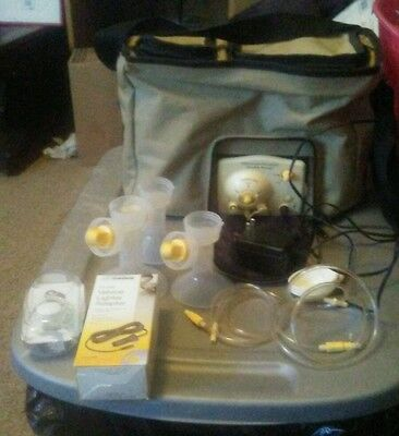 MEDELA Advanced Personal Double Breast Pump Extras Brown Bag Cooler Lot Baby