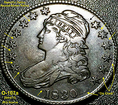 1830 CAPPED BUST HALF DOLLAR (O-107a) Small 0 **GREAT EYE APPEAL**