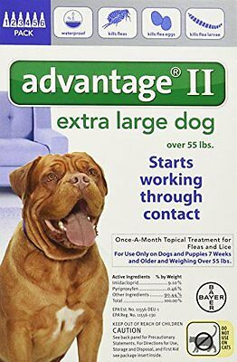 Bayer Advantage II Blue 6-Month Flea Control for Dogs 55+ lbs.