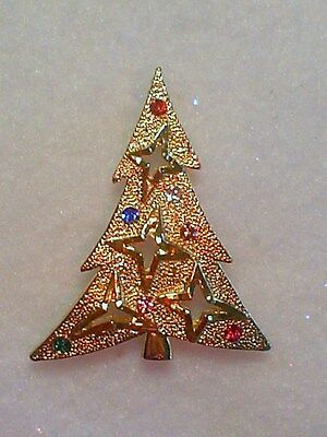 Starry Christmas Tree Crystal Brooch Made In Czech