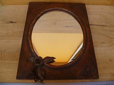 Vintage Old Large Size Leather Australian, 'waratah' Design Wall Mirror, (C955)