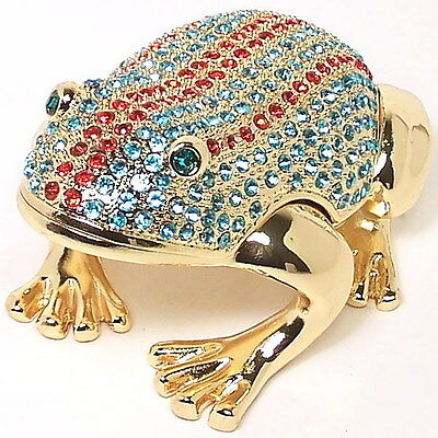 Large Frog Figurine Trinket Hinged Pill Box Crystal Jeweled New Collectable