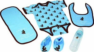 River's Edge 5-Piece Baby Onsey, Bib, Pad, Booties, and Bottle Combo Pack (