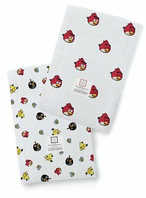 SwaddleDesigns Baby Burpies, Angry Birds Baby (Set of 2, Red Bird)