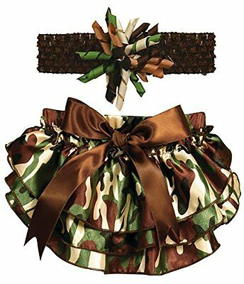Stephan Baby Ruffled Diaper Cover and Curly Headband Gift Set, Camo Print,