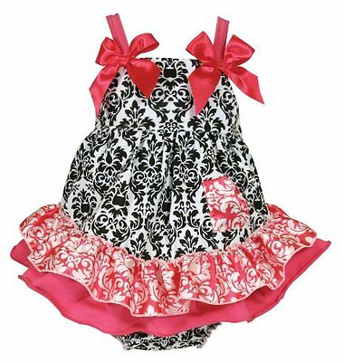 Stephan Baby Swing Top and Ruffled Diaper Cover, Little Diva Hot Pink and B