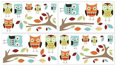 Turquoise and Lime Hooty Owl Baby, Childrens and Kids Wall Decal Stickers b