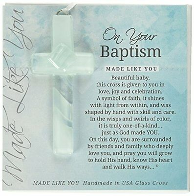 Grandparent Gifts On Your Baptism Handmade Aqua Glass Cross Size: 4 inches