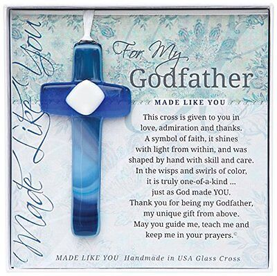 Grandparent Gifts For My Godfather Handmade Blue Glass Cross Size: 4 inches