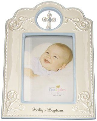 Nat and Jules Baby's Baptism Frame, Blue