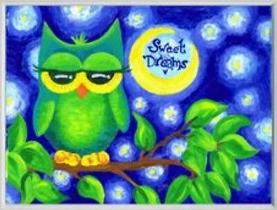 Stupell Industries BRP-1203 Green Owl Sweet Dreams Rect Wall