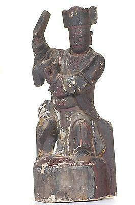 Large Antique Chinese Wood Carved Statue from 1866, Qing Dynasty, 19th c
