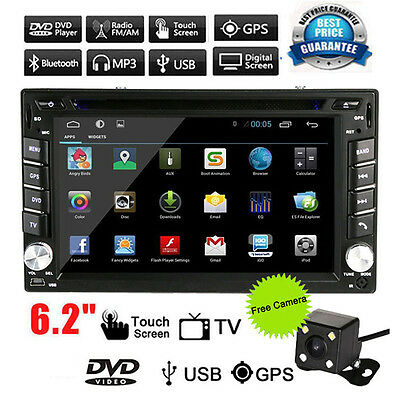 "Camera + 6.2 "" In Dash Sat Nav 2Din Car Stereo DVD Player GPS Bluetooth Radio TV"