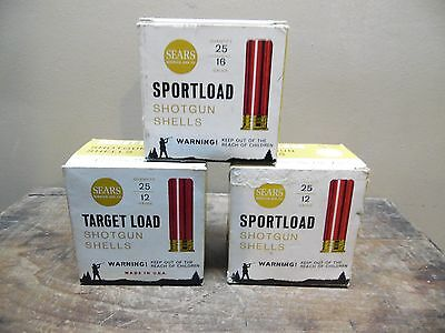Lot Of 3 Vintage Sears Sportload & Target Load 12 & 16 Ga. Shell Boxs Empty