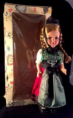 Celluloid Gura Black Forest Costume Doll 12 Inches High Sleep Eyes Jointed 1950s