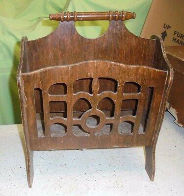 Vintage Wooden Magazine Newspaper Rack Sewing Knitting Box Midcentury Lattice