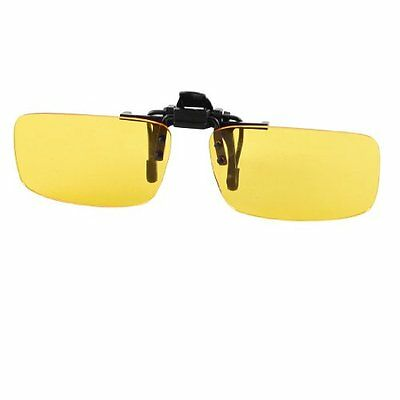 Como Rectangle Clear Yellow Lens Rimless Clip On Night Vision Driving Glass