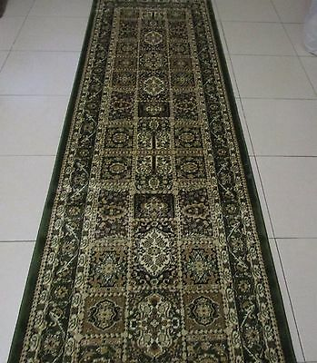 New Green Persian Design Heatset Floor Hallway Runner Rug 80X300Cm