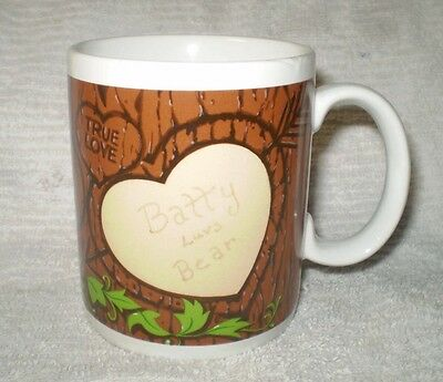 Valentines Batty Luvs Bear Coffee Cup Collectible Clean Condition White Base