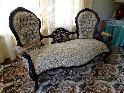 Antique Victorian Carved Mahogany Double Ended Chaise Lounge