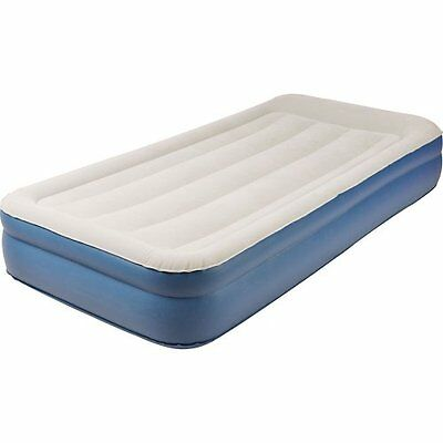 Jilong Deluxe Home Series Raised Air Bed, Cream/Blue, Twin Size