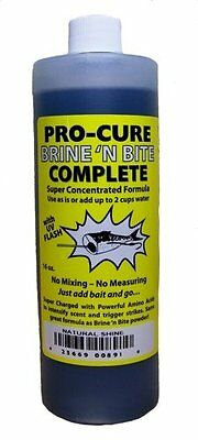 Pro-Cure Brine N Bite Fishing Attractant Complete Liquid Bottle, 16-Ounce,