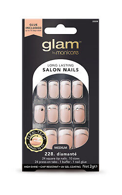 Manicare Glam Fashion Diamante Square Nail Tips