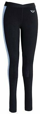 TuffRider Women's Ventilated Schooling Tights, Black/Cornflower Blue, Small