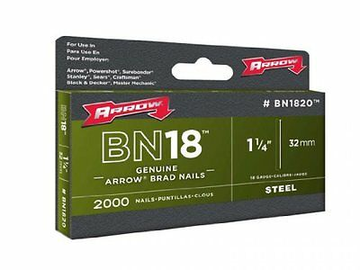 Arrow BN1824 Genuine 1-1/2-Inch Brad Nails with Steel T Head, 1000-Pack