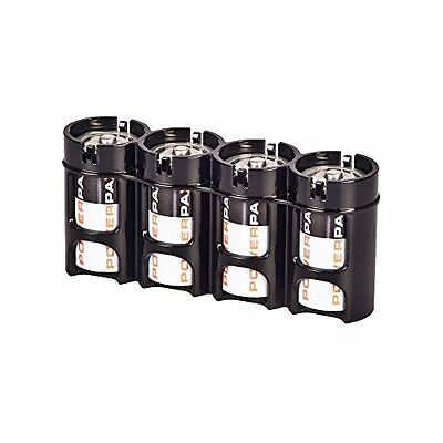 Storacell Powerpax C Battery Caddy, Black, 4-Pack